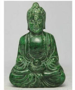 CHINESE HANDWORK CARVING BUDDHA OLD JADE STATUE shipping free
