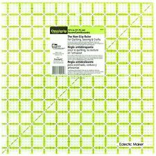 Omnigrid Omnigrip Neon green 12 1/2 inch x 12 1/2 inch Square Ruler for Quilting