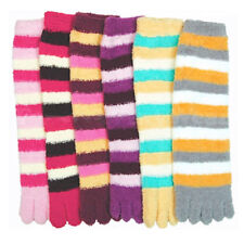 6 Pairs Ultra Plush Toe Socks Soft Fuzzy Winter Warm Women Girls Large Size 9-11