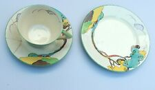 Antique Art Deco Clarice Cliff Blue Autumn? conical cup, saucer and plate.