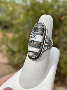 Navajo Sterling Ring,  Banded Black ~ White Buffalo Turquoise, sz 7