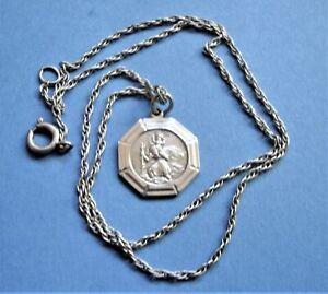 Vintage Silver Georg Jensen St Christopher Medal on Chain