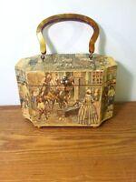 Vintage Decoupage 3D Relief Wood Box Trinket Bag/Purse,Bakelite handle-60s-S Tan