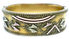 VICTORIAN YELLOW ROSE GOLD FILLED ROLLED GF FLOWER HINGED BANGLE BRACELET