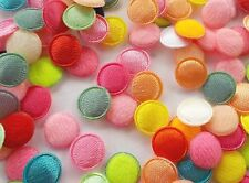 "100 Padded Circle Round Dot Embellishments - Satin & Felt Flower Dots  9MM/0.4"""