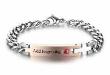 Personalized Custom Engraved Stainless Steel With Birthstone Cross Bracelet