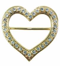 Herz Schalring Brosche mit Strass - Gold - Schöner Schmuck zum Halstuch