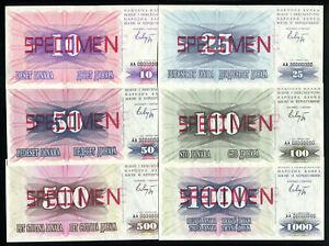 BOSNIA SPECIMEN SET 6 Notes 10-1000 Dinara 1992 P10-15 Stamped Sarajevo 1993 UNC