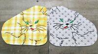 Vintage Handmade Embroidered Kitty Cat Pot Holder Hot Pad Lot 2 Kitsch Retro