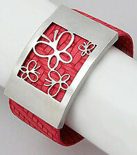 """Red Genuine Leather Butterfly Stainless Steel 33mm Wide = 1.3"""" Cuff Bracelet"""
