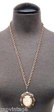 Vtg 1970's Gold Tone Victorian Jasper Stone (Gemstone) Costume Jewelry Necklace