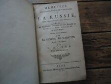 MEMOIRES HISTORIQUES  MILITAIRES RUSSIE DE1727 MANSTEIN 1771 CARTE GUERRE TURC