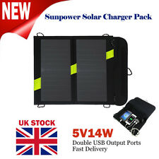 UK 5V14W Portable External Solar Panel Power Charger Dual USB for Mobile Phone