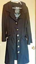 Millard Fillmore Vintage Full Length Large Button Front Black Sweater Coat M