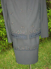 Womens's John Meyer Of Norwich Size 2W 2pc Gray Skirt Suit Beaded Detail