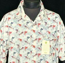 NEW ten2one Roundy Bay Hawaiian Shirt Fish Marlin XL Red White Blue July 4th NWT