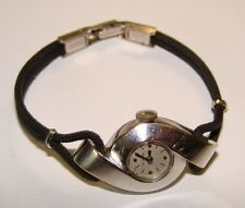 1950's JAEGER LeCOULTRE 14K WHITE GOLD MODERNIST VINTAGE LADIES WATCH 17 JEWEL