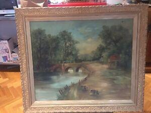 Antique European? River Landscape Oil On Canvas Signed A.E.P In Gilt Frame