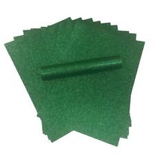 10 A4 GREEN NON SHED SOFT TOUCH GLITTER PAPER, WHITE BACK, CHRISTMAS APP 150GSM