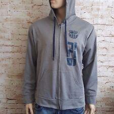 FC BARCELONA Zip Up Men's Grey Hoodie Size XL