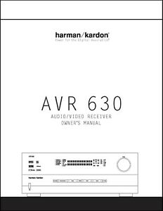 Harman Kardon AVR-630  AV Receiver Owner's Manual - Operating Instructions