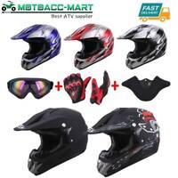 DOT Adult Kids Helmet Dirt Bike ATV Motocross Motorcycle Full Face Goggle Gloves