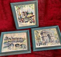 3 Framed Vintage French Paris Midcentury Prints Watercolor Marius Girard 8 X 10