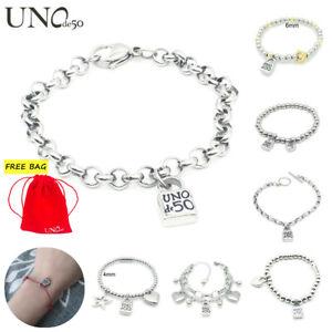 Classic Uno de 50 Jewelry Luxury Silver Beaded Padlock Stainless steel Bracelet