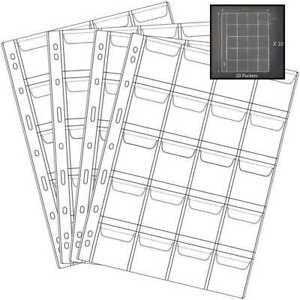 20 Pocket Coin Pages Gogoaie 10 Sheets Plastic Holders Stamp Collector Supplies