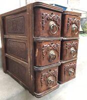 Sweet Treadle Sewing Wood Cabinets Drawers w/ Metal Handles & Frames ~ 6 Total