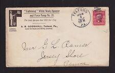 USA 1907 LIGHTING WHITE WASH SPRAYER & PUMP COVER TELFORD TO JERSEY SHORE PA