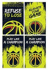 Basketball Posters, 11x17 inches, Set of 4, Boys Girls Room Court