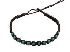 Bracelet bresilien amitie marron avec multi perles turquoise 8986-FS5A