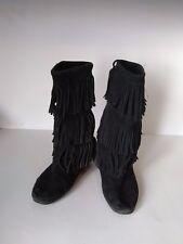 Minnetonka Moccasin Suede Leather Fringe Boots Moc Womens Boots Shoe Black Sz 6