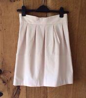 H&M Pale Pink Nude Cream High Waist Pleat Tulip Skirt - Size 10 36