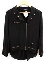 Ladies THE KOOPLES Black Chiffon Biker Blouse Shirt UK Medium  - K08