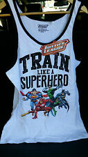 Justice League Train like a hero white tank szM BNWT free post D93