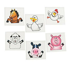 36 Fun Assorted Farm Animal Kids Temporary Tattoos #70/5219