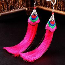 Fashion Women Bohemian Vintage Long Tassel Fringe Boho Hook Dangle Earrings