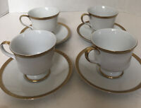 SANGO China ROYALTY 3625 Japan Fine China White With Gold Trim 4 Cups & Saucers