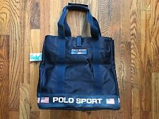 1990's Vintage Ralph Lauren Polo Sport  Navy Blue Tote Handbag Bag Purse Flag