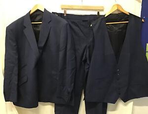 Alexandre Savile Row Navy Blue Men's Plus Size Bespoke Wool 3 Piece Suit (003)