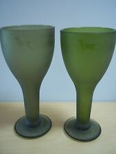Vintage Marana Set /2 Green Glass Goblets With Dog Motif - Made in South Africa