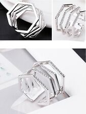 Women CZ Pave Statement Ring Four Layers Sparkling Ring Rhodium Plated Pouch
