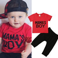 US Kids Toddler Baby Boy Outfits Clothes Short Sleeve Tops Romper+Pants 2pcs Set