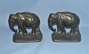 Vintage Cast Bronze Elephant Bookends Heavy 4+lbs