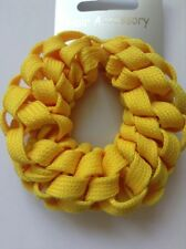 A Yellow Plaited Shoelace Donut Hair Scrunchie/Bobble