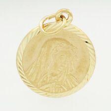 9Carat Yellow Gold Virgin Mary Charm 14mm Diameter