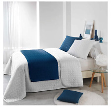 Couvre LIT 2 PERS Matelasse 220 x 240 CM Microfibre Unie Blanc et bleu,Polyester