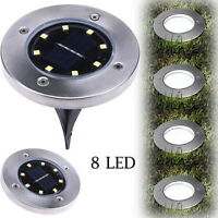 8LED Solar Power Flat Buried Light In-Ground Lamp Outdoor Path Garden Decking TE